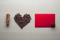 Día del café y de tarjeta del día de San Valentín Imagen de archivo libre de regalías