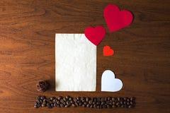Día del café y de tarjeta del día de San Valentín Fotos de archivo