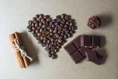 Día del café y de tarjeta del día de San Valentín Foto de archivo libre de regalías