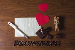 Día del café y de tarjeta del día de San Valentín Fotos de archivo libres de regalías