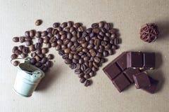 Día del café y de tarjeta del día de San Valentín Foto de archivo