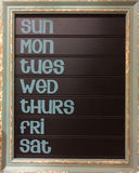 Día del calendario de pared de la semana fotos de archivo libres de regalías