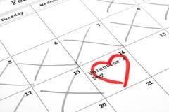 Día del calendario y de tarjeta del día de San Valentín Fotografía de archivo libre de regalías