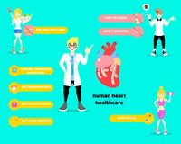Día del corazón del mundo, diagrama de la forma de vida sana y concepto infographic de la atención sanitaria del corazón con el d libre illustration