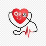 Día del corazón del mundo Estetoscopio del corazón Mecanismo de engranaje en el corazón Corazón artificial Vector Diseño del serv libre illustration