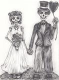 Día del cráneo de la boda del arte de los muertos ilustración del vector