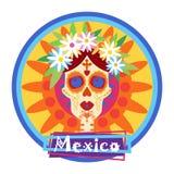 Día del cráneo de mexicano tradicional Halloween del concepto muerto Fotos de archivo libres de regalías