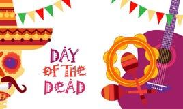 Día del cráneo de mexicano tradicional Halloween Dia De Los Muertos Holiday del concepto muerto Fotografía de archivo libre de regalías