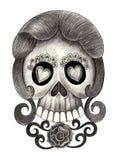 Día del cráneo del arte de los muertos Foto de archivo libre de regalías