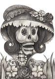 Día del cráneo del arte de los muertos Foto de archivo