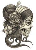Día del cráneo del arte de los muertos ilustración del vector