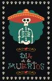 Día del cráneo mexicano muerto del azúcar del sombrero del mariachi ilustración del vector