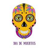 Día del cráneo muerto del azúcar con el ornamento floral Imagenes de archivo