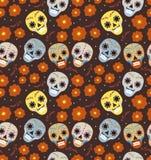 Día del día de fiesta muerto en el modelo inconsútil de México con los cráneos del azúcar Fondo sin fin esquelético Dia de Muerto stock de ilustración