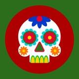 Día del diseño de tarjeta muerto Icono del vector en estilo plano Cráneo adornado con los modelos en el fondo rojo y verde fotografía de archivo libre de regalías