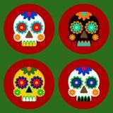 Día del diseño de tarjeta muerto Iconos del vector en estilo plano Colección de 4 cráneos adornados con los modelos en el backgro imagen de archivo