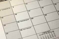 Día del equinoccio otoñal en foco selectivo en el calendario simple de septiembre de 2019 foto de archivo libre de regalías