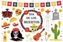 Día del estilo plano de los iconos mexicanos muertos del día de fiesta ilustración del vector