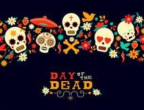 Día del fondo muerto del cráneo del azúcar de la flor ilustración del vector