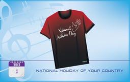 Día del himno nacional de la postal ilustración del vector