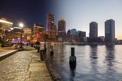 Día del horizonte de Boston al montaje de la noche - Massachusetts - los E.E.U.U. - unidad imagen de archivo