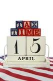 Día del impuesto de los E.E.U.U., el 15 de abril, concepto Fotos de archivo libres de regalías