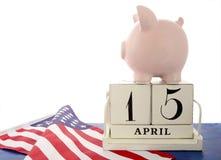 Día del impuesto de los E.E.U.U., el 15 de abril, concepto Fotografía de archivo