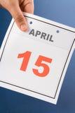 Día del impuesto del calendario Fotografía de archivo libre de regalías