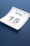Día del impuesto del calendario Foto de archivo libre de regalías