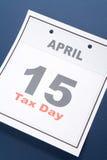Día del impuesto del calendario Fotografía de archivo