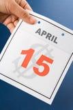 Día del impuesto del calendario Fotos de archivo