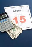 Día del impuesto del calendario Foto de archivo
