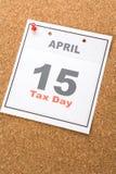 Día del impuesto del calendario Imágenes de archivo libres de regalías