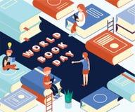 Día del libro del mundo, donde está concepto la gente isométrico de las ilustraciones del libro de lectura stock de ilustración