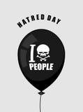 Día del odio Odio gente Globo negro con un símbolo del odio Imagen de archivo libre de regalías