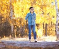 Día del otoño, el caminar feliz del muchacho Fotografía de archivo