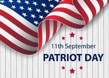 Día del patriota 11 de septiembre Nunca olvidaremos ilustración del vector