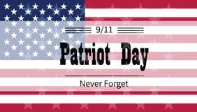 Día del patriota del ejemplo de los saludos del día de fiesta ilustración del vector