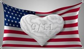 Día del patriota el 11 de septiembre Corazón de mármol en el fondo de la bandera americana Ilustración del vector ilustración del vector