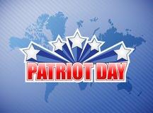 Día del patriota nosotros ejemplo de la muestra del mapa del mundo Imagen de archivo libre de regalías