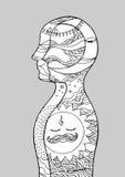Día del poder del reiki del chakra del arte abstracto, noche, mundo, universo dentro de su mente, mano del vector dibujada Imagen de archivo