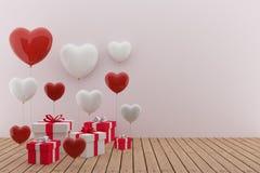 Día del ` s de la tarjeta del día de San Valentín - ame el festival con los globos blancos y rojos del corazón en el ejemplo 3D Imágenes de archivo libres de regalías