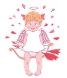 Día del `s de la tarjeta del día de San Valentín Cupido-muchacha divertida en el vestido blanco con el arco y las flechas en sus  Fotos de archivo libres de regalías