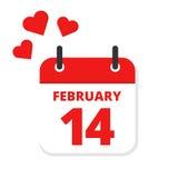 Día del ` s de la tarjeta del día de San Valentín del calendario Fotos de archivo libres de regalías