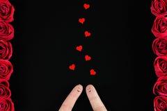 Día del ` s de la tarjeta del día de San Valentín - caras felices del finger Foto de archivo