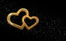 Día del ` s de la tarjeta del día de San Valentín de dos corazones Imagen de archivo libre de regalías