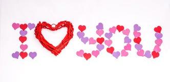Día del ` s de la tarjeta del día de San Valentín, el 14 de febrero Inscripciones sobre amor Fotos de archivo libres de regalías