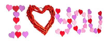 Día del ` s de la tarjeta del día de San Valentín, el 14 de febrero Inscripciones sobre amor Fotos de archivo