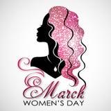 Día del `s de las mujeres Tarjeta de felicitación del vector con la silueta de la mujer El 8 de marzo Fotografía de archivo
