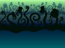Día del ` s de StPatrick Los monstruos verdes están celebrando tentacles disco Fondo stock de ilustración
